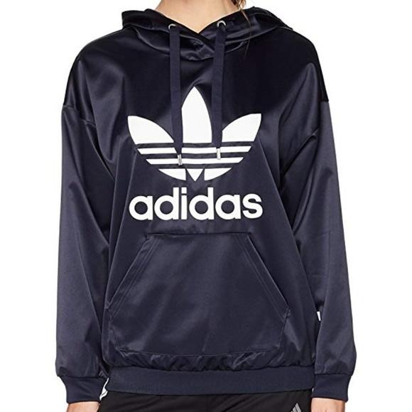 Adidas originals trefoil hoodie satin navy white